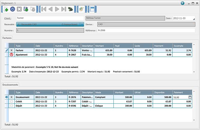 Inscrire un paiement reçu d'un client - Acomba